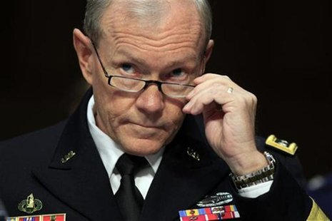 Martin Dempsey testifies during a hearing held by the Senate Armed Services Committee in Washington