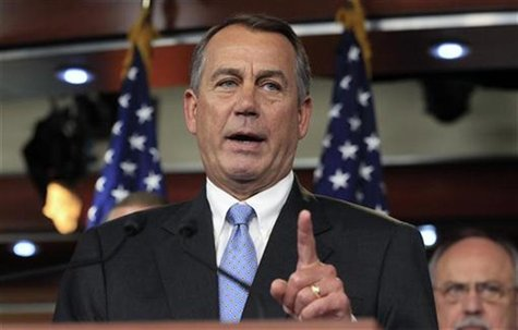 Speaker of the House Boehner talks during a news conference on Capitol Hill in Washington