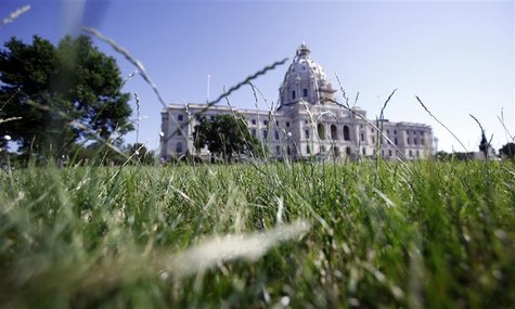 Grass growing in front of Minnesota state capitol building in St. Paul