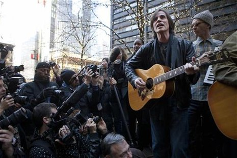 Musician Browne performs in support of the Occupy Wall Street movement at Zuccotti Park in New York
