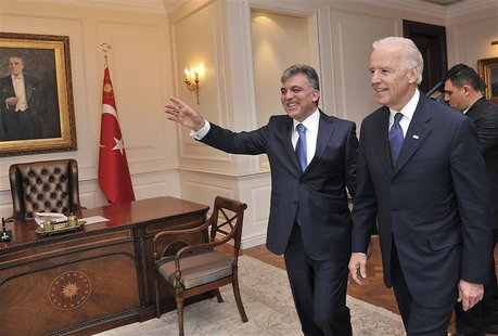Turkey's President Gul receives U.S. Vice President Biden at the Presidential Palace of Cankaya in Ankara.