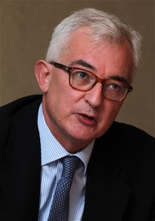 Penguin Books CEO John Makinson speaks during the Reuters Global Media Summit in London