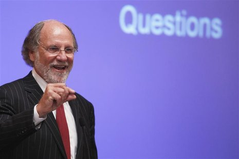 Jon Corzine, chairman and chief executive officer of MF Global Holdings, speaks during the Sandler O'Neill + Partners global exchange and br