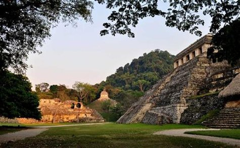 Undated handout photo by the INAH shows the exterior of the tomb of a Mayan ruler at the ruins of the Mayan city of Palenque in the Mexican