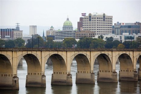 A railway bridge over the Susquehanna River is seen in Harrisburg, Pennsylvania