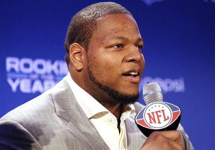 Suh of the Detroit Lions speaks after he received the Pepsi NFL Rookie of the Year award at a news conference in Dallas