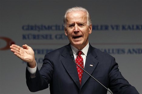 U.S. Vice President Joe Biden reacts during his address at the Global Entrepreneurship Summit in Istanbul