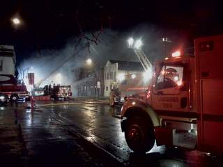 Fire at Wood Lanes in downtown Pulaski on Saturday December 3, 2011. (courtesy of FOX 11)