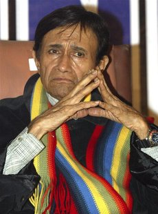 "File photo shows veteran Bollywood actor and director Dev Anand during a news conference for the premiere of his film ""Mr. Prime Minister"" i"