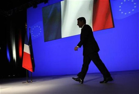 France's President Sarkozy arrives to deliver his speech on the euro zone financial crisis in Toulon