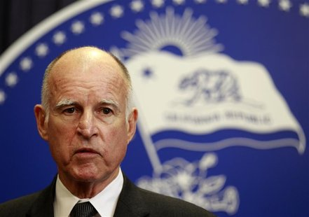 California Governor Jerry Brown speaks after vetoing the budget passed the day before by state legislators in Los Angeles