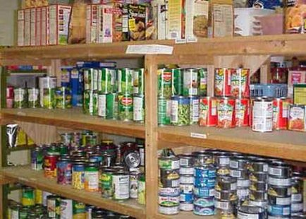 Shelves at a food pantry