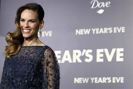 "Cast member Hilary Swank poses at the premiere of ""New Year's Eve"" at the Grauman?s Chinese theatre in Hollywood"