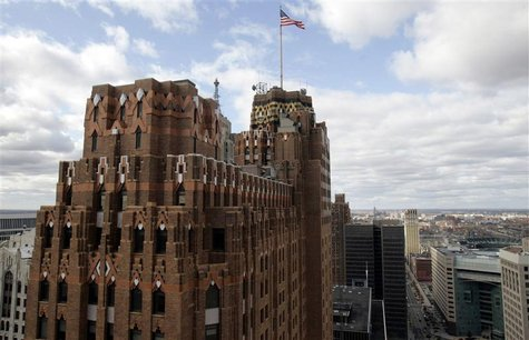 The downtown Detroit skyline is seen November 11, 2009