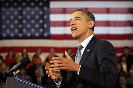 U.S. President Obama speaks about the economy and a payroll tax cut compromise at Osawatomie High School in Kansas