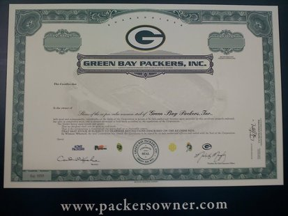 Green Bay Packers Stock Share.