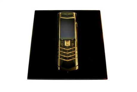 A Vertu Signature mobile phone costing over 9,500 euros is displayed in Helsinki