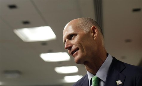 Florida governor Scott attends a news conference in Sao Paulo