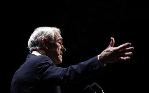 Republican presidential candidate and Congressman Ron Paul speaks at the annual Republican Party of Iowa Ronald Reagan Dinner in Des Moines,