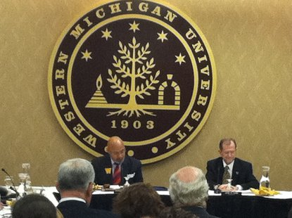 WMU President John Dunn at a WMU Board of Trustees meeting that announced MPI will be donating a building in Downtown Kalamazoo for the WMU Medical School.