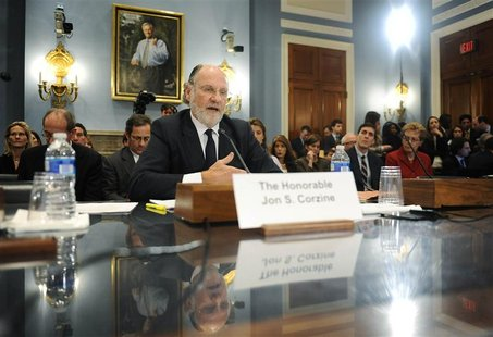 Corzine testifies about the MF Global bankruptcy during a hearing before the House Agriculture Committee on Capitol Hill in Washington