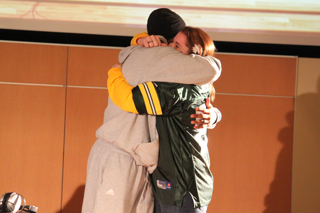 WIXX made this fan's dream come true - a hug from Greg Jennings!!