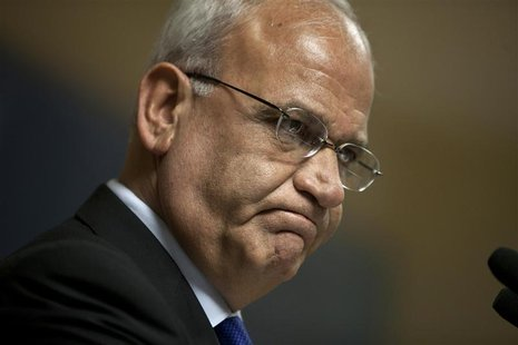 Erekat, the Palestinian Authority's chief negotiator, speaks at a Institute for National Security Studies forum in Tel Aviv
