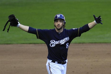 Milwaukee Brewers' Ryan Braun celebrates his 2 RBIs against the St. Louis Cardinals in the 5th inning of Game 1 in the MLB National League C