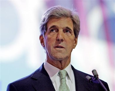 U.S. Senator John Kerry attends a walk-through before the 2008 Democratic National Convention in Denver