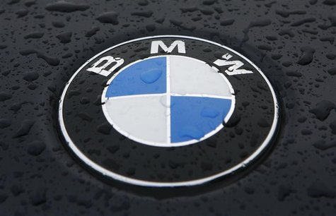 Raindrops are seen on the BMW car in Munich