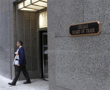 A trader walks out of the CME group at the Chicago Board of Trade in Chicago