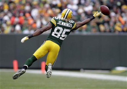 Packers' Jennings fails to catch a pass while playing against the Buccaneers in their NFL football game in Green Bay
