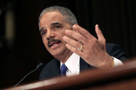 "U.S. Attorney General Eric Holder testifies during a hearing on the ""Oversight of the Justice Department"" held by the Senate Judiciary Commi"