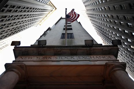 The U.S. flag hangs outside the New York Stock Exchange.