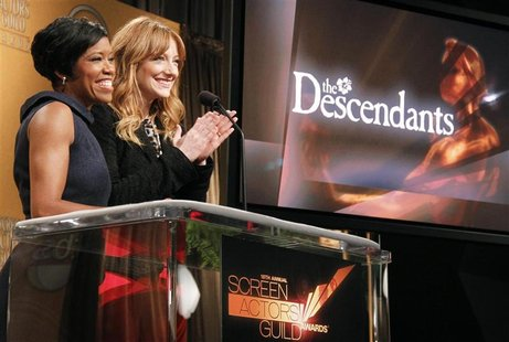 "Actress Greer reacts as she and King announce ""The Descendants"" as a motion picture nominee for the 18th Annual Screen Actors Guild Awards i"
