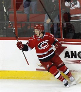 Carolina Hurricanes' Skinner celebrates after scoring against the Maple Leafs during the third period of their NHL game in Raleigh