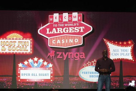 Zynga General Manager Toney introduces Zynga Casino during the Zynga Unleashed event at the company's headquarters in San Francisco