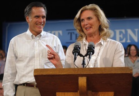 Republican presidential candidate and former Massachusetts Governor Mitt Romney is introduced by his wife, Ann Romney, for a speech about hi