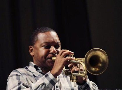 U.S. jazz trumpeter Wynton Marsalis plays trumpet during a rehearsal for a series of concerts in Havana