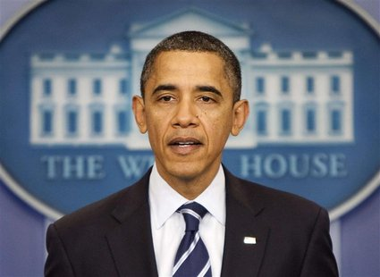 U.S. President Barack Obama makes a statement in the White House Briefing Room in Washington