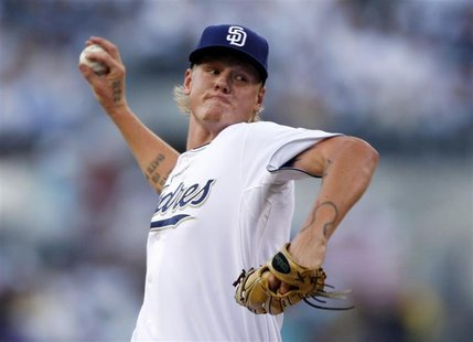 San Diego Padres starting pitcher Latos faces the New York Mets in the first inning during their MLB baseball game in San Diego