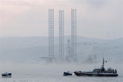 "File photo shows the ""Kolskaya"" oil drilling rig in the Kola Bay near Russia's northern seaport of Murmansk"