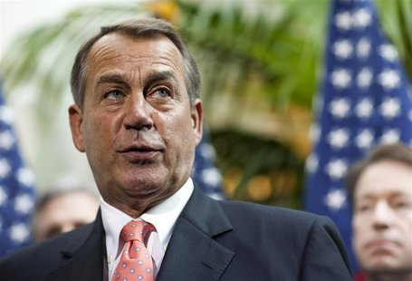 Speaker of the House John Boehner arrives to speak with the media after a meeting on legislative business with fellow Republicans on Capitol