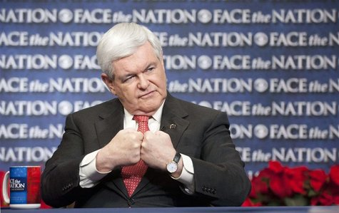 "U.S. Republican presidential candidate and former House Speaker Newt Gingrich gestures on CBS News' ""Face the Nation"" in Washington"