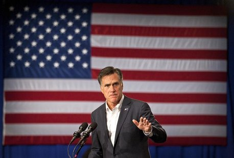 U.S. Republican presidential candidate and former Massachusetts Governor Mitt Romney speaks during a rally in Greenville