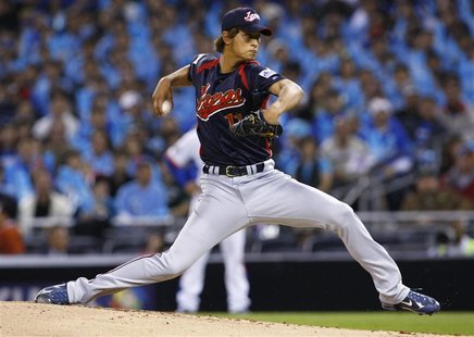 Team Japan starting pitcher Yu Darvish pitches against Team Korea during Round 2 of the World Baseball Classic in San Diego