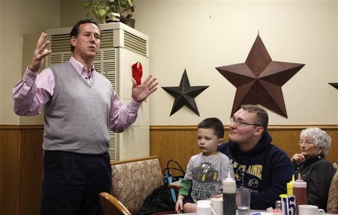 Republican presidential candidate Santorum speaks during a Town Hall meeting at the Lincoln Café in Belle Plain, Iowa