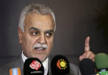Iraq's Vice President Tareq al-Hashemi speaks at a news conference in in Arbil