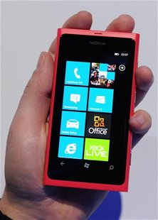 The new Nokia smart phone Lumia 800 is displayed at Nokia world in London