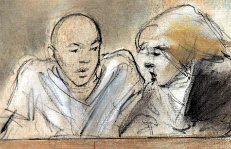 This courtroom drawing shows accused Christmas Day Bomber Umar Farouk Abdulmutallab with his defense attorney Miriam Siefer in Federal court